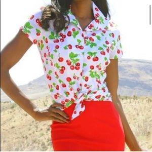 🍒 Cherry Print Pin-Up Tie Blouse
